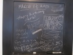 my to-do chalkboard, which was our Thankful board at Thanksgiving also served as a handy place to collect birthday well-wishes